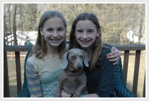 Megan and Alexis named their dog Chloe to rhyme with their cousin's dog Zoe.