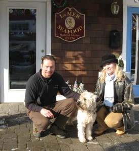 Here is Finn with Ed Wechsler of La Mer Seafood and his owner Kelly Leonard