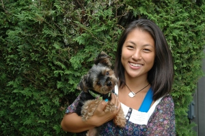 East meets West: Romeo, a Yorkshire Terrier with his owner Nicole  who was born in Korea.
