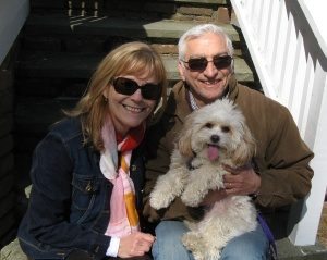 With Nate the Cavapoo and his owners Renate and Charles Golden at Wampus Pond Park in Armonk